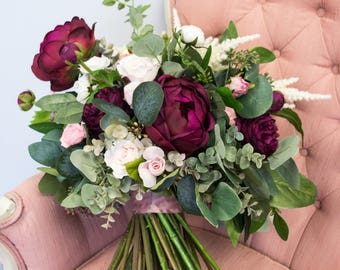 Bridal Bouquet, Blush Pink, Marsala Wine, Burgundy, White, and Ivory Artificial Flower and Faux Greenery Wedding Bouquets