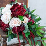Bridal and Bridesmaids Bouquets, Burgundy, Red, Ivory Artificial Flower & Faux Greenery Wedding Bouquet, Peonies, Roses, Amaranthus, Ruscus