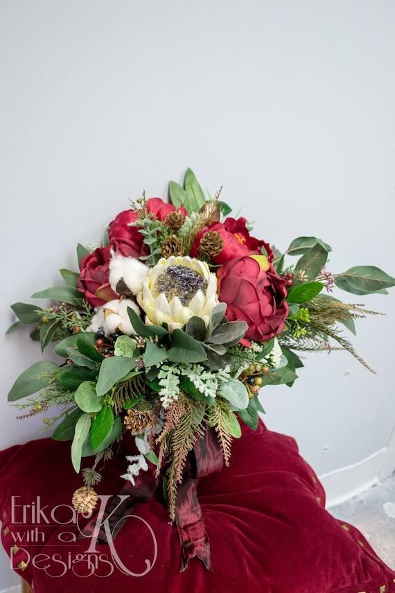 Winter oder Weihnachten Hochzeit Brautstrauß Bordeaux rot | Etsy