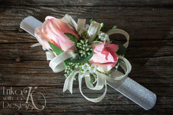 Eucalyptus Fake Corsages Babys Breath Blush Pink Faux Flower Womens Mother or Grandmother Corsage Ivory or Custom Color Roses White