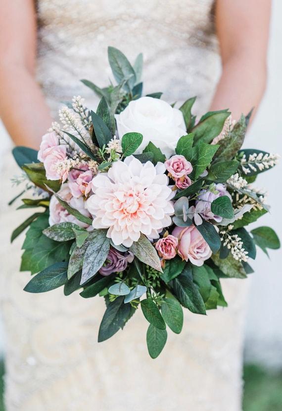 Bridal And Bridesmaids Bouquets Blush Pink Mauve Lavender Etsy