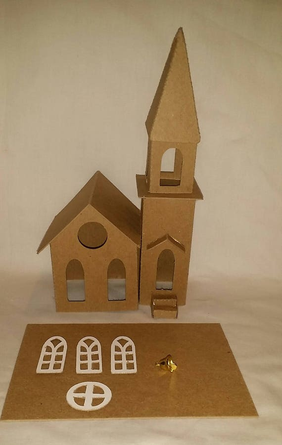DIY  Cardboard Church with Steeple with Flicker Light Hole