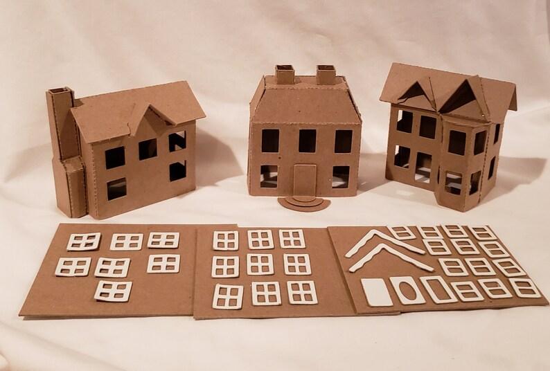 Putz Style Cardboard Houses- Village Set of 3 Houses, 1 Shop, & 1 Church