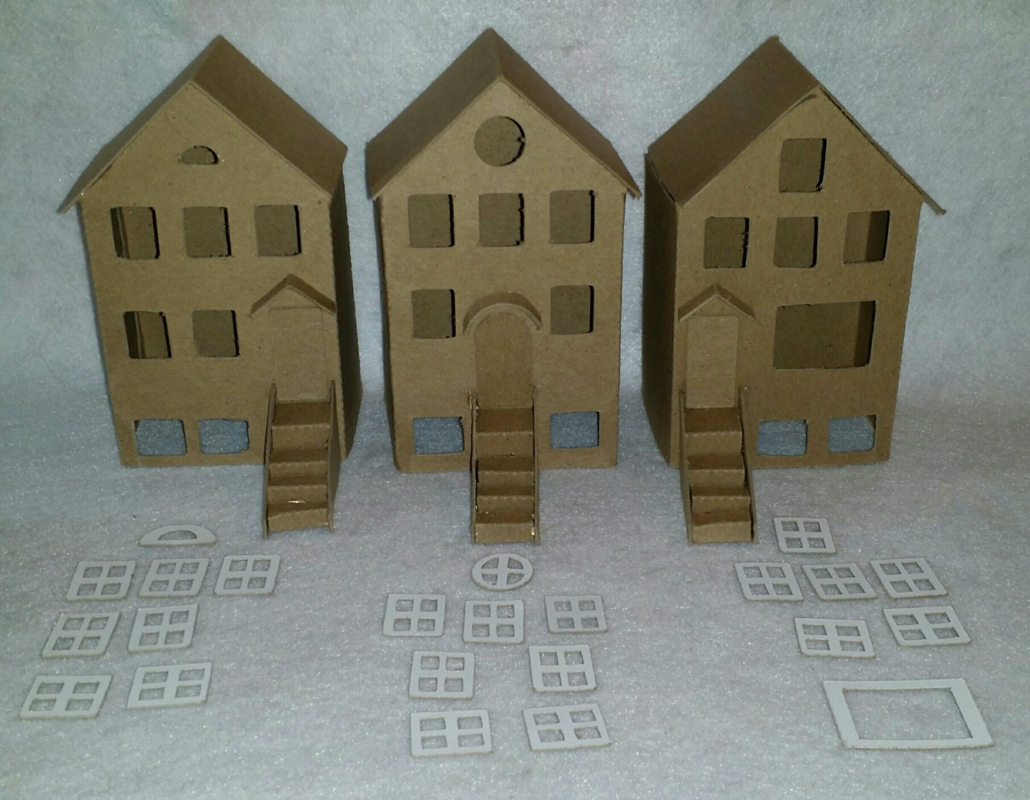 Putz Style Cardboard Houses- City Homes/Townhouses