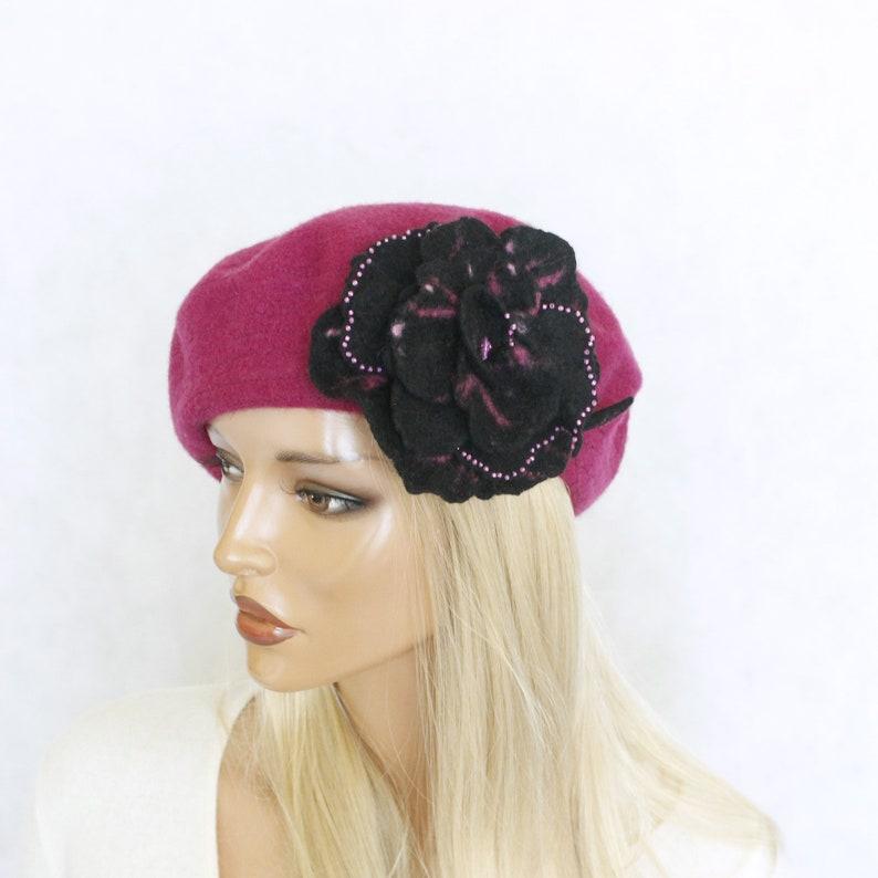Black pink brooch  Felt flower  Felted brooch  Fancy flower  Felt  brooch  fancy brooch  FREE SHIPPING