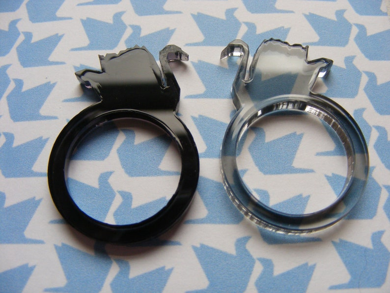 Pair of Swan Origami Rings Laser-Cut Perspex