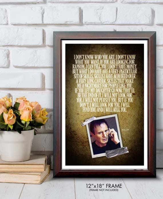 Taken I Will Kill You Quote Poster Etsy