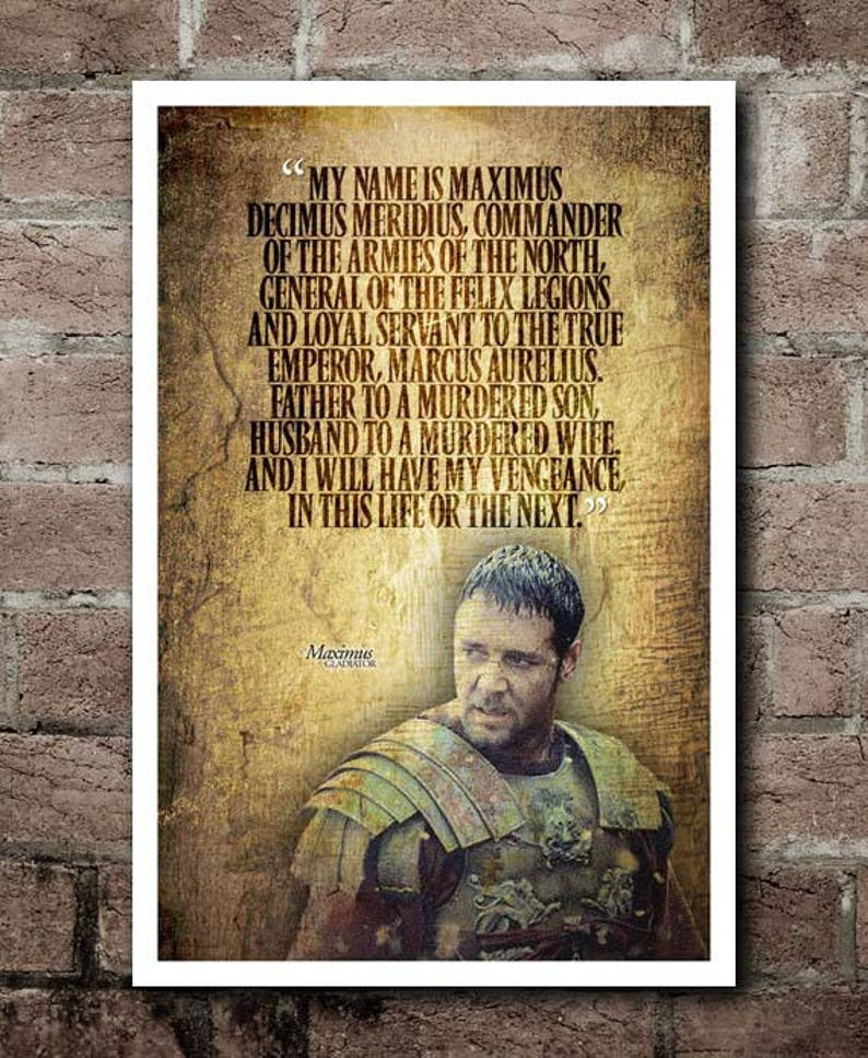 Gladiator My Name Is Maximus Movie Quote Poster Etsy