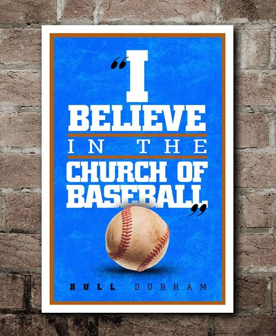 Bull Durham Quotes Gorgeous BULL DURHAM Church Of Baseball Movie Quote Poster Etsy