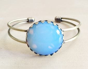 Opalite Bangle - Healing Crystals, Arm Candy, Antique Bronze Bracelet Base, Chakras, Zodiac, Iridescent, Opal, Milky, 25mm Stone Cabochon