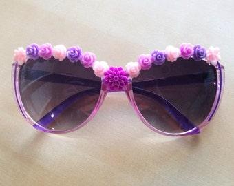 Purple Rose Sunglasses - Lilac, Violet, Magenta, Pink, Roses, Dahlias, Flowers, Large Cat-Eye Frames, Festival, Hippie, 100% UV Protection