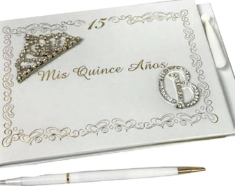 9fbb7d92039 Mis Quince Años or Sweet 16 Guest Book with Tiara Decoration Monogram  Letter Signature Book