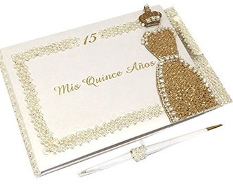 71c8638f2f9 Mis Quince Anos Quinceanera Rhinestones Guest Book with Crown Princess Dress