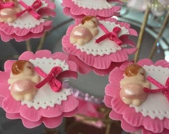 12 Pink Felt Bibs Favor Baby Shower Cake Topper Decoration