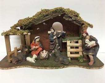 Christmas Nativity Set Scene Figurines Baby Jesus Mary Joseph Shepard Manger 8 pc