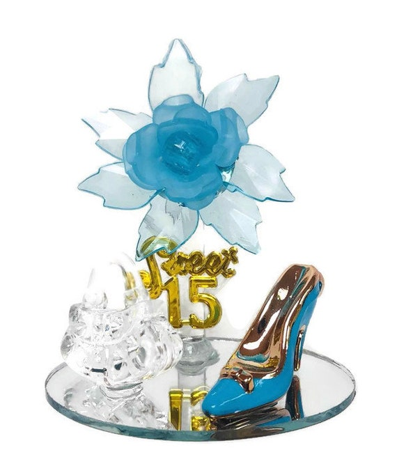 10 Mis Quince Anos Sweet 15 Acrylic Flower with High Heel Shoe Favor