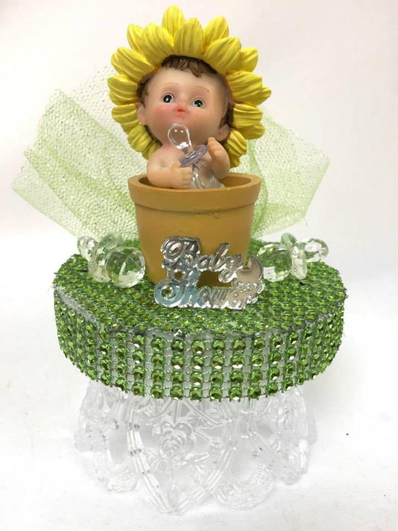 Baby Shower Baby Boy Inside a Flower Pot Cake Topper Centerpiece Decoration