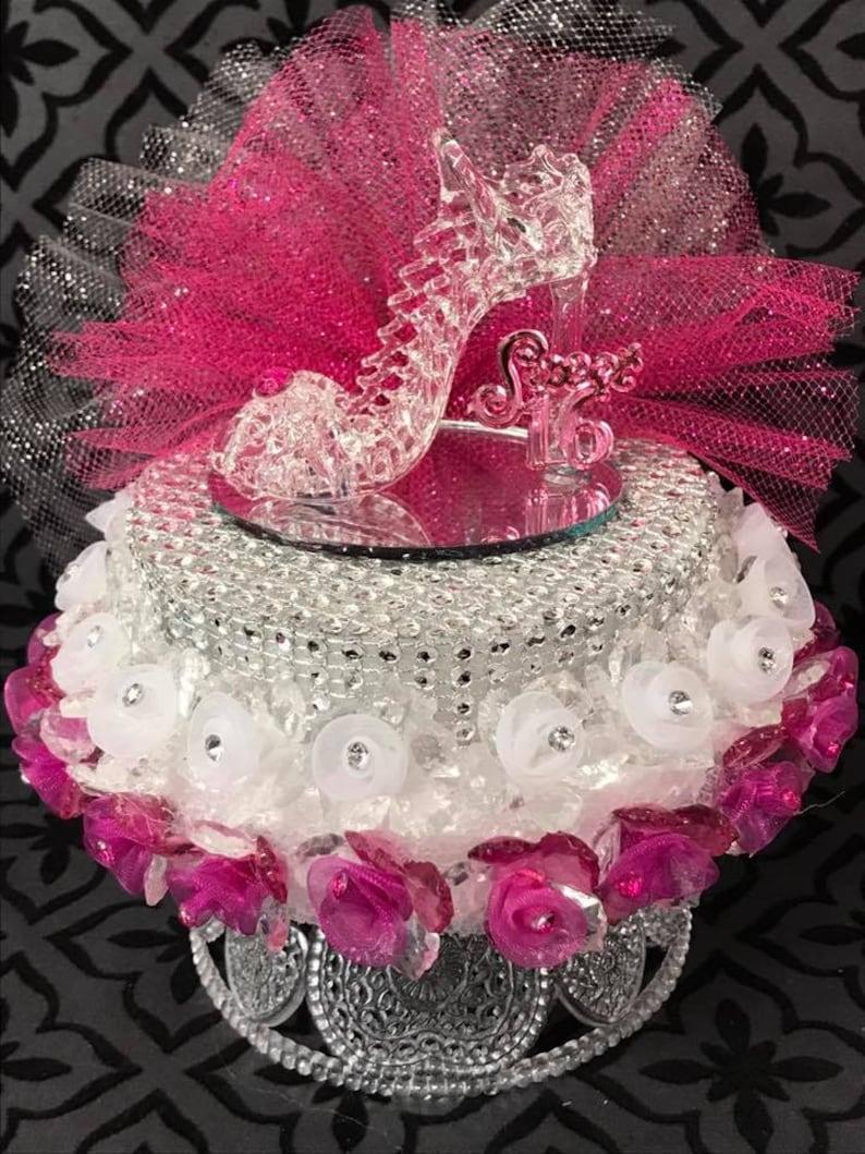 Glass High Heel Sweet 16 15 Bridal Shower Birthday Cake Topper Centerpiece Gift Keepsake