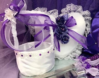 Ring Bearer Pillow and Flower Girl Basket with Cake Knife Set