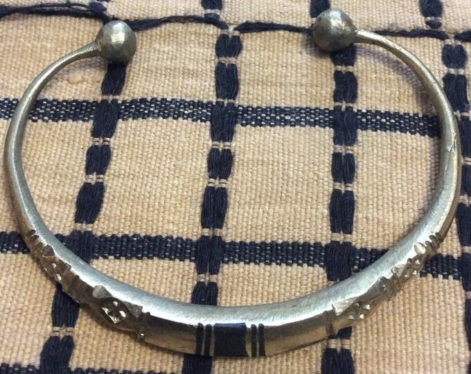 Tuareg Silver Bracelet w/ in laid wood