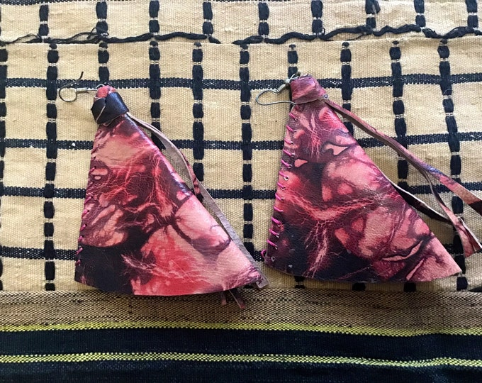 Triangle Shaped design West African Leather Earrings