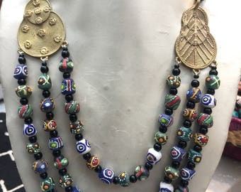 Tri-layered  Baule Pendant Bridge Necklace handworked in Africa