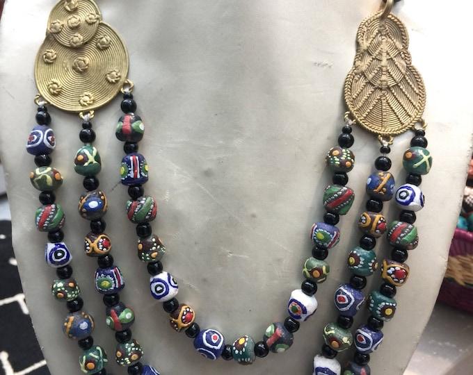 Tri-layered  Baule Pendant Bridge Necklace handworked in Africa