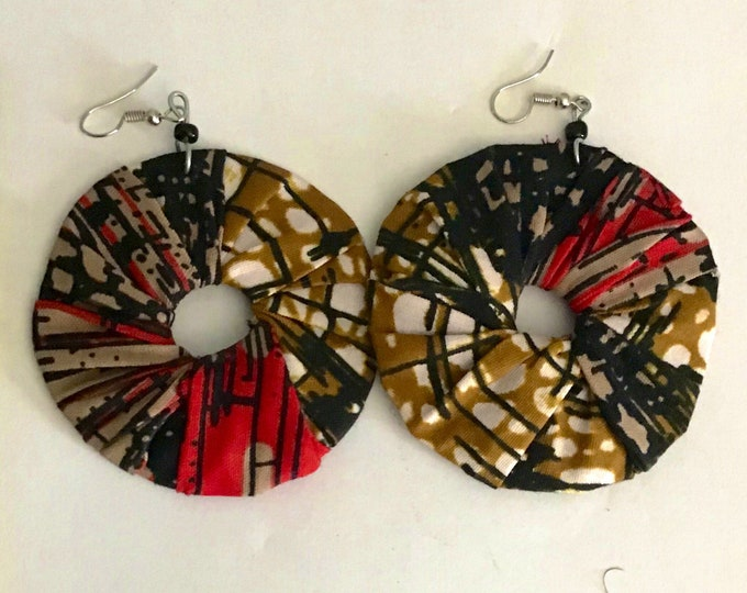 Medium Sized Solid Hoop Design African Ankara fabric Earrings