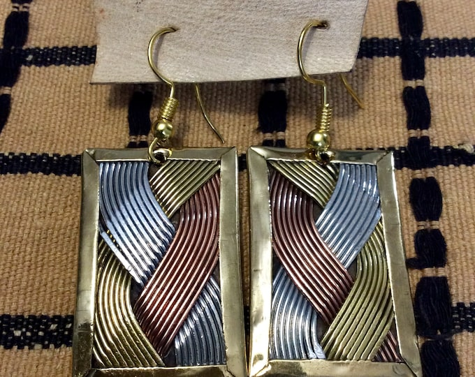 Medium rectangle shaped brass, nickel and copper wire earring