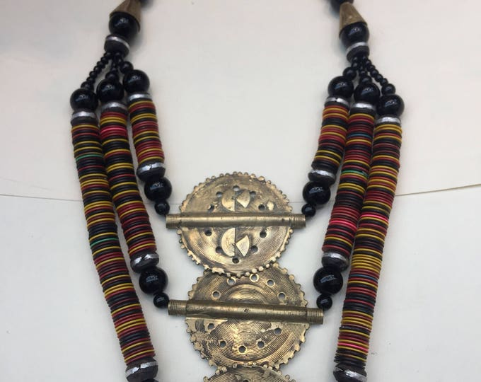 Tri-layered  Baule Pendant Necklace handworked in Africa