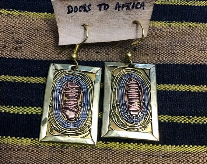 Beautiful Rectangular brass, nickel and copper wire earrings. Measure 2H x 1.75W inches very attractive and unique @doorstoafrica