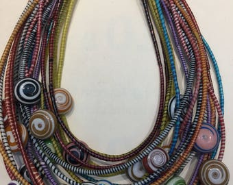 Multistrand Choker Necklace from Recycled Plastic in West Africa