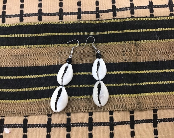 West Africa Traded Cowrie shell earrings, Shell earrings, Shell hoops, Boho earrings
