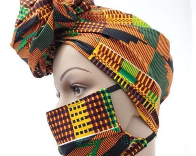 African style head wrap cable of been worn  in multiple popular styles . Designed to fit varies head sizes  and washable .