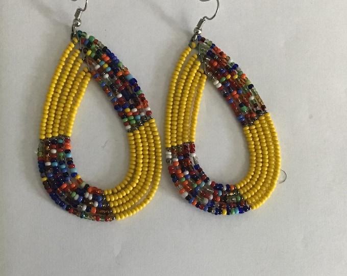 Medium Sized Pear Shape Design African Maasai Bead Earrings