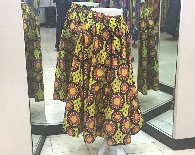 Ankara Traditional Wax Print Adjustable Strap Maxi West African Skirt (long)