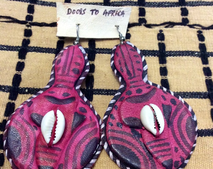 Gourd Shape design West Afriican Leather Earrings with cowrie shell