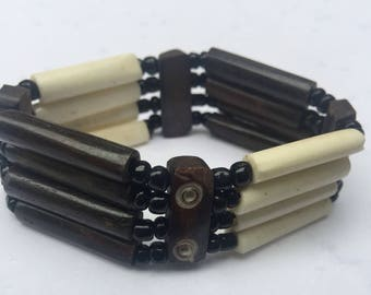 East African Bone Bead Bracelet Ivory Brown Design I