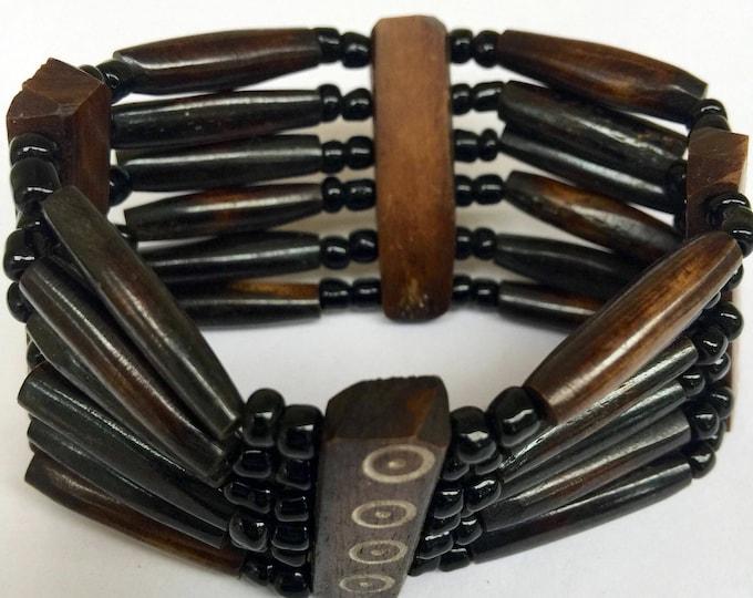 East African Bone Bead Bracelet Brown Design I