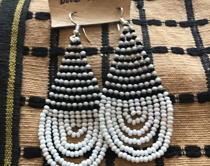 Medium Sized Beaded Design African Earrings