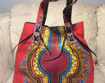 African Dashiki Fabric Bag