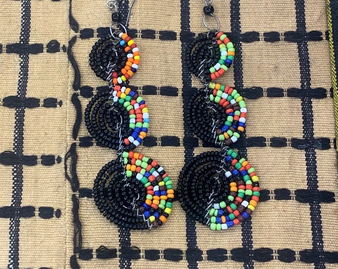 Medium Sized Pear Shape Design African Maasai Bead Earrings