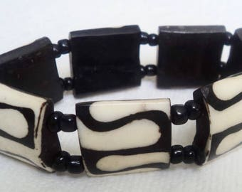 East African Bone Bead Stretchy Bracelet design II