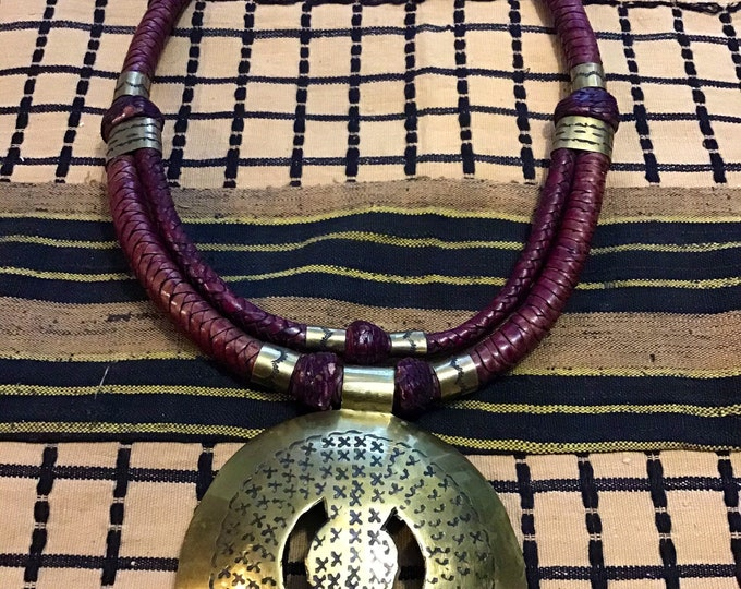 Multi-layered leather Pendant Bridge Necklace handmade in Africa
