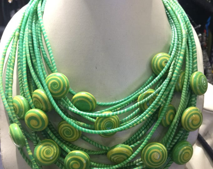 Green Multistrand Choker Necklace from Recycled Plastic in West Africa