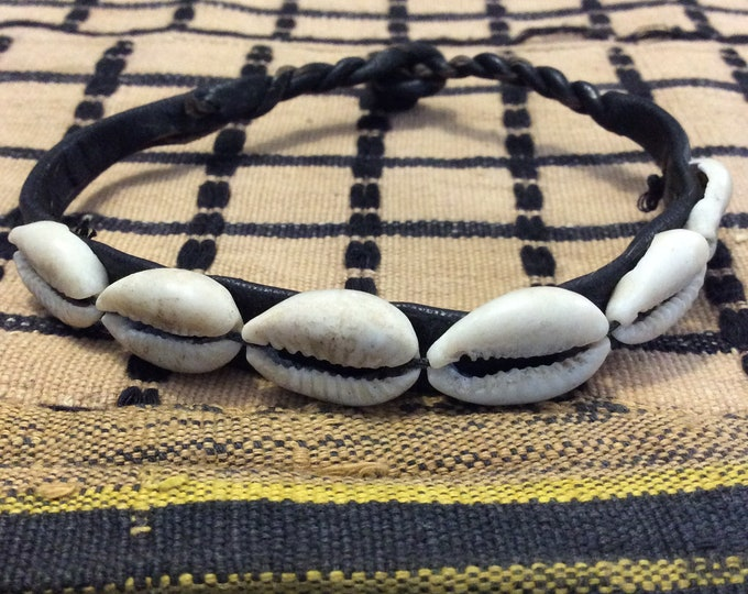 Traditional West African Design Cowry Shell Leather Bracelet, Small to X Large
