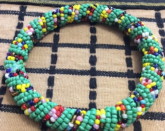 Mixed Colored Beaded Round Masai Bracelet (Small to Large)