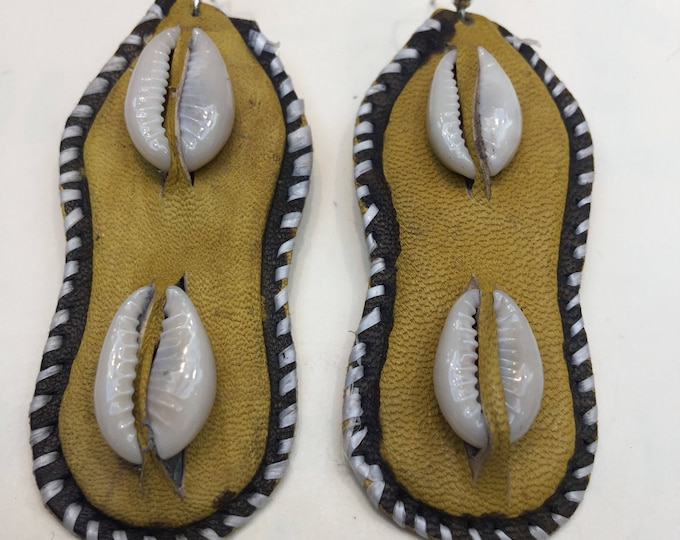 Oblong Shape design West Afriican Leather Earrings with cowrie shell