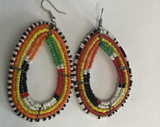 Medium Sized Pear Shaped Design African Maasai Bead Earrings