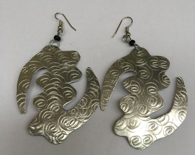 Large & Light Gye Gname African Earrings with imprints